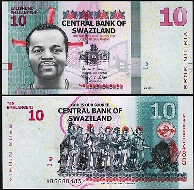 Swaziland 2015 10 Emalangeni //Vision 2022 Hybrid Polymer Note UNC