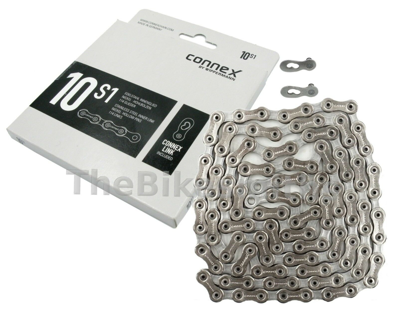 """Connex 10SX Bicycle Chain1//2 x 11//128/""""Stainless Steel nickel-plated"""