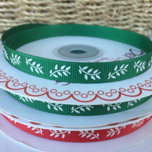 Noël Feuille Ruban Rouge ou Vert par 3 mètres largeur 10 mm