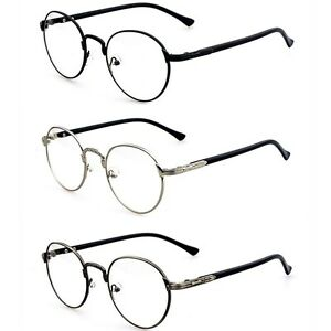 Fashion-Hipster-Vintage-Retro-Metal-Frame-Clear-Lens-Glasses-Nerd-Geek-Eyewear