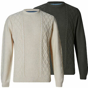 Marks Spencer Mens Fisherman Cable Knit Jumper New Ms Crew Neck