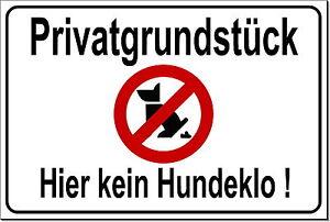 Kein Hundeklo-hundekot-hundehaufen-15x10 Bis 20x30cm-alu-schild-privatgrundstück Möbel & Wohnen Schilder & Plaketten