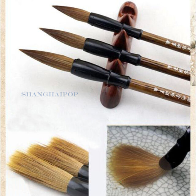 3 PCS Chinese Calligraphy Brush Pen Writing Painting Art Craft Wolf Weasel Hair