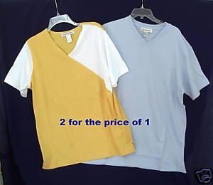 New-2-Silhouettes-Plus-XL-Cotton-T-Tee-Shirt-Womens-Short-Sleeve-V-Neck-Top-XL