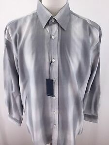 Michelsons-Studio-NWT-Mens-Large-White-and-Grey-Striped-long-sleeve-E-64