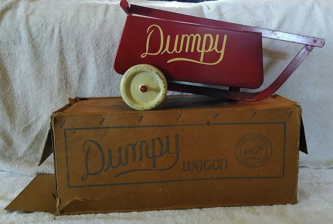 Antique 1930's Tee Gee Taylor Graves Pressed Steel Dumpy Toy Pull Wagon w/box