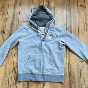 American-Eagle-Hooded-Sweatshirt-Gray-Full-Zip-Pockets-Men-039-s-Medium