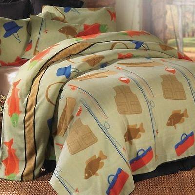 Northwoods Deer Fleece Blanket Set Evergreen Lodge Cabin Bear Blanket Set