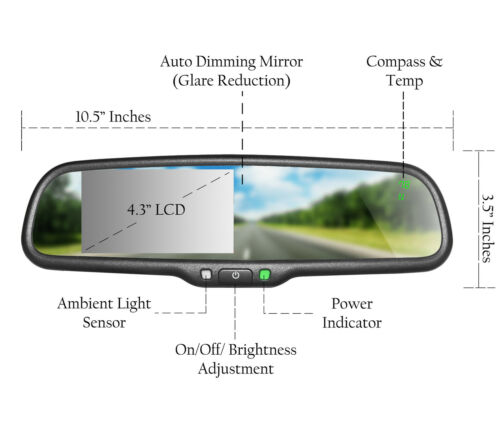 "Master Tailgaters OEM Rear View Mirror w// 4.3/"" LCD Auto Dimming Temp Compass"