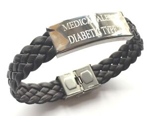 Diabetique-Type-2-Medical-Alert-S-O-S-Marron-Tisse-Cuir-Bracelet