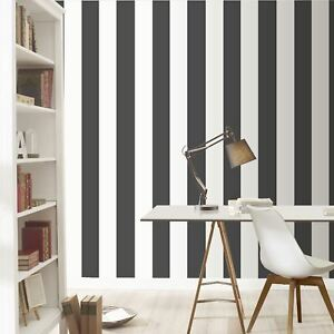 Image Is Loading Stripe Wallpaper Black And White Rasch 286694 Feature