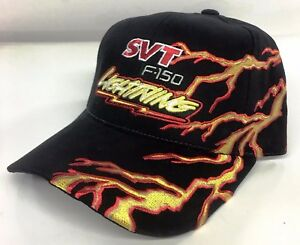 NEW 93 94 95 99 00 01 02 03 04 FORD SVT LIGHTNING F150 BLACK EMBROIDERED HAT/CAP