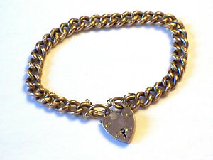 Image Is Loading Antique 9ct Rose Gold Curb Link Chain Bracelet
