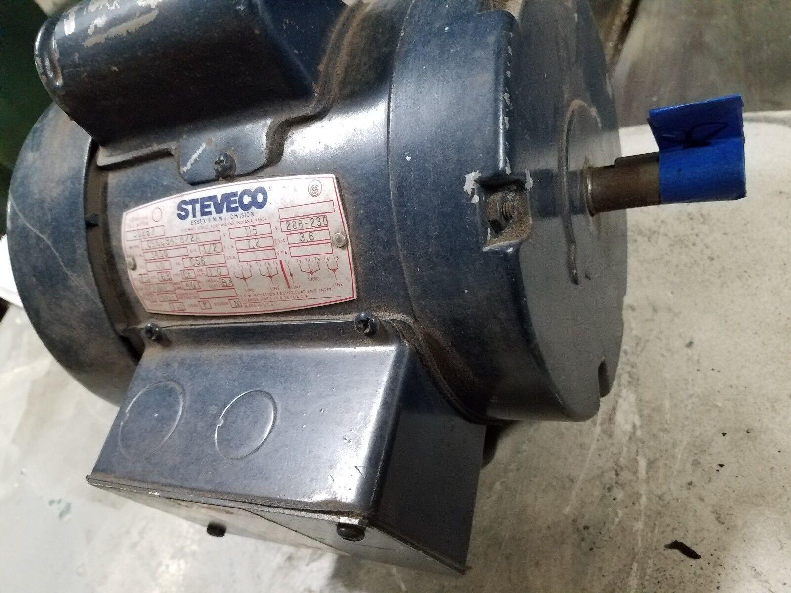 Steveco 1 2 HP 3450 RPM 56 Frame TEFC Single Phase Motor 115 230 V (B)