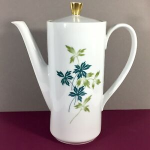 Seltmann-Weiden-Bavaria-Coffee-Tea-Chocolate-Pot-w-Lid-Blue-Green-Leaves-Vintage
