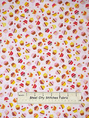 Timeless Treasures Cupcake 9215 Pink Icing Cake Bake Kitchen Cotton Fabric YARD