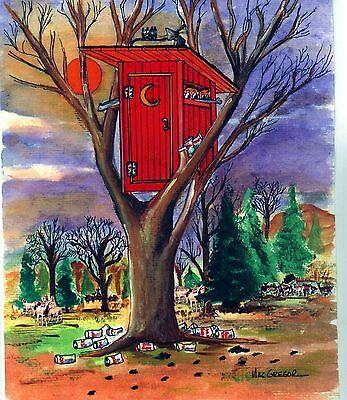 Deerhunter Art Print Outhouse Bow Hunter Deer Tree