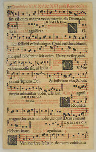 MUSIK-Noten-NEUMEN-rot-schwarz-RIESEN-Notenblatt-um-1690-Mittelalter-CHORAL