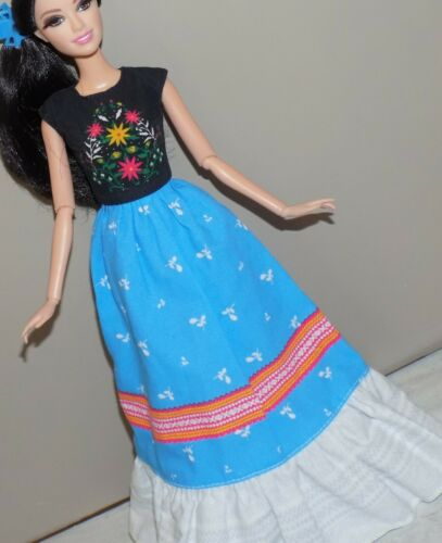 BARBIE BOHO FIESTA MEXICAN PEASANT DRESS GOWN FITS FASHIONISTA MODEL LIV DOLL