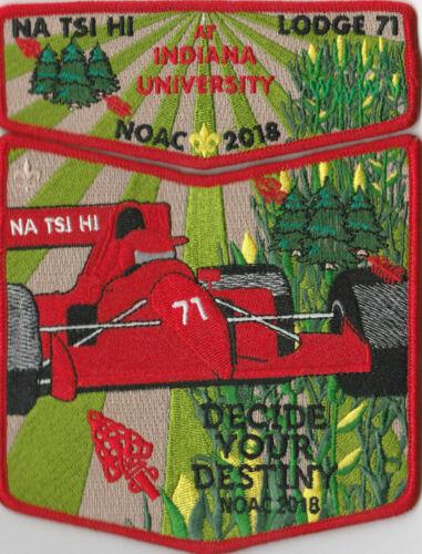GNY321 Monmouth Council 2018 NOAC OA Lodge 71 Na-Tsi-Hi Flap Set Red Bdr