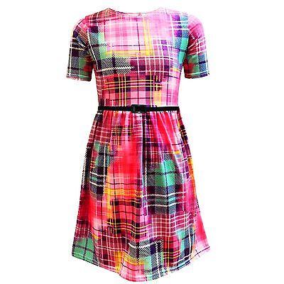 Girls Skater Dress Kids Tartan Multi Print Party Fashion Dance Dresses 7-13 Yrs