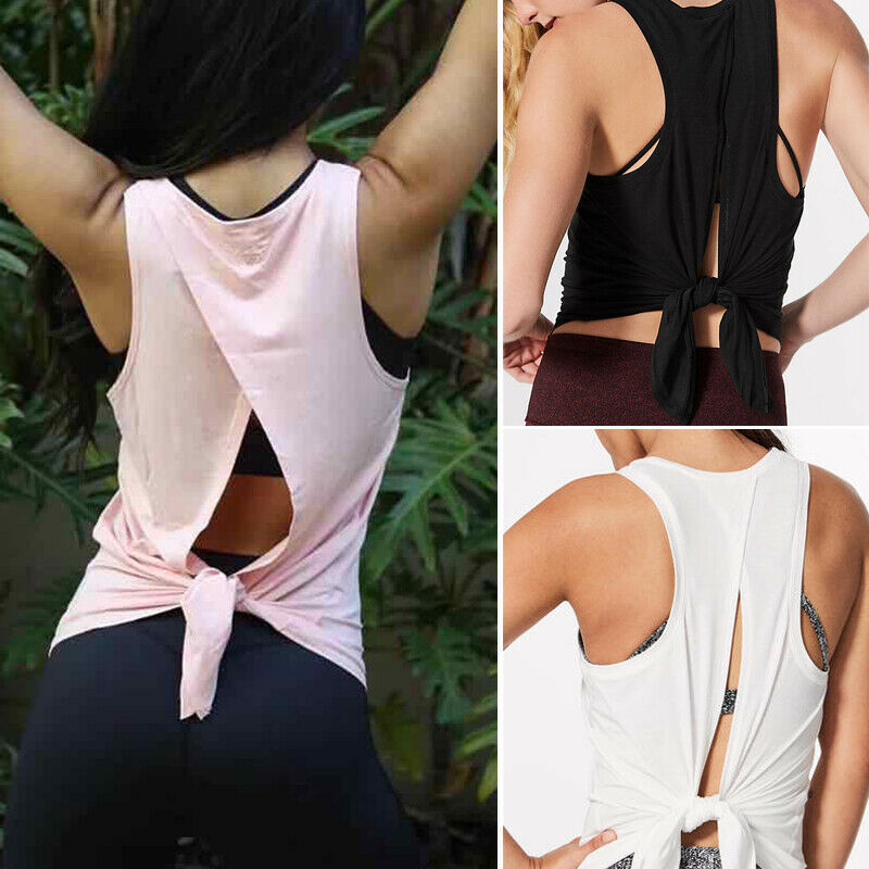 Women Back Split Tank Top Vest Workout T-shirt Sports Gym Clothes Fitness Yoga