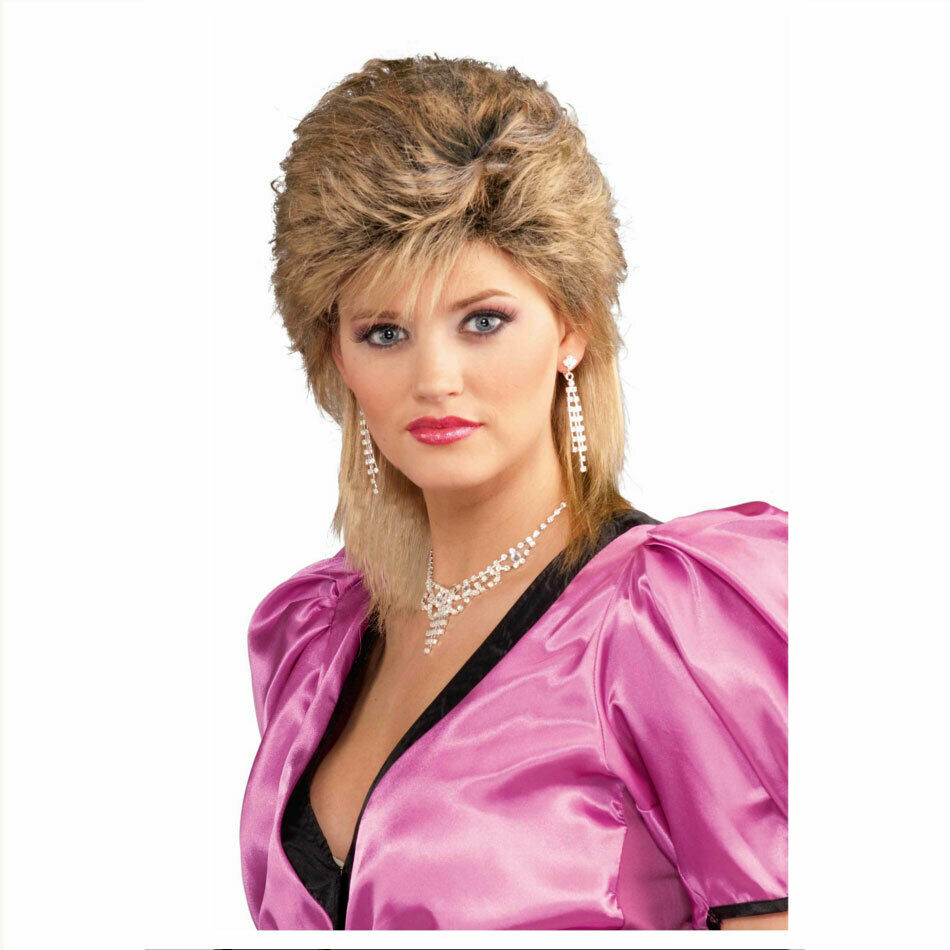 SALON Style Blonde Costume Wig 80s 1980s Fringe Layered Wavy Hair Star Celebrity