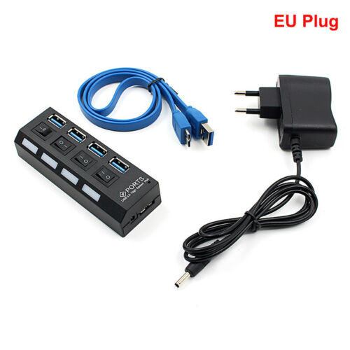 4Port LED indicator USB3.0 HUB With On//Off Switch Power Adapter For Laptopdaf fg