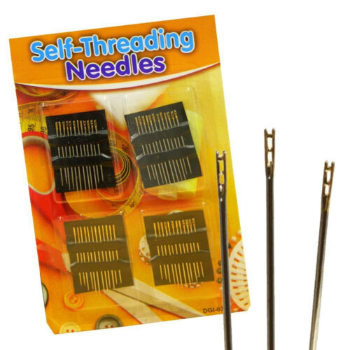 48pc SELF THREADING Hand Sewing NEEDLES Simple Easy Thread Assorted Sizes