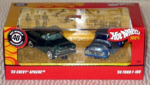 Hot wheels 100 40th annniversary 59 Chevy Apache / 56  Ford F-100 Collectable...