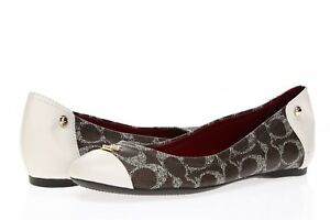 COACH-Womens-039-Chelsea-039-Brown-Signature-Leather-Cap-Toe-Ballet-Flats-Sz-6-5