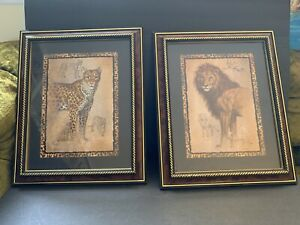 J-Gibson-Set-Of-2-Prints-Home-Interiors-Framed-Cheetah-Leopard-amp-Lion-Safari