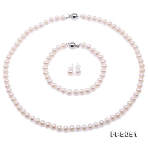 Belle 5-6 mm blanc eau douce Perle Collier Bracelet Boucles D/'oreilles Bijoux Set