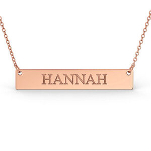 6ea98389e30 Details about 9ct Rose Gold Personalised Name Bar Necklace