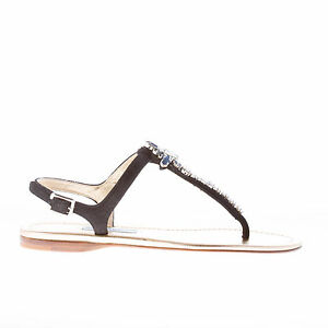 b48b0a55c PRADA women shoes Black suede thong flat sandal with Swarovski ...