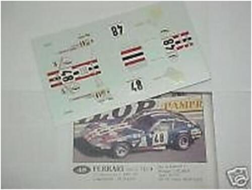 FERRARI 365 GTB4 DAYTONA N.48 LE MANS 1975 1//43 DECALS