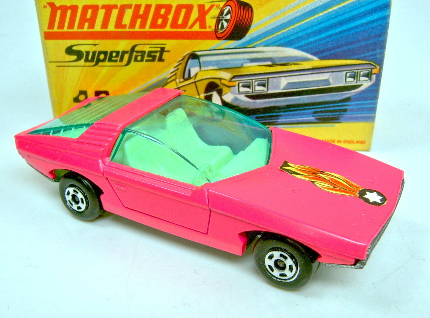 Matchbox Superfast Nr. 40B Guildsman pink blacker blacker blacker  Flammen  Aufkleber in Box 50e320