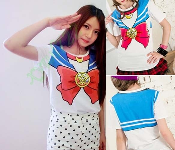 Anime Sailor Moon Bow Crew Neck T-shirt Tops Cute Kawaii Cosplay Costume New