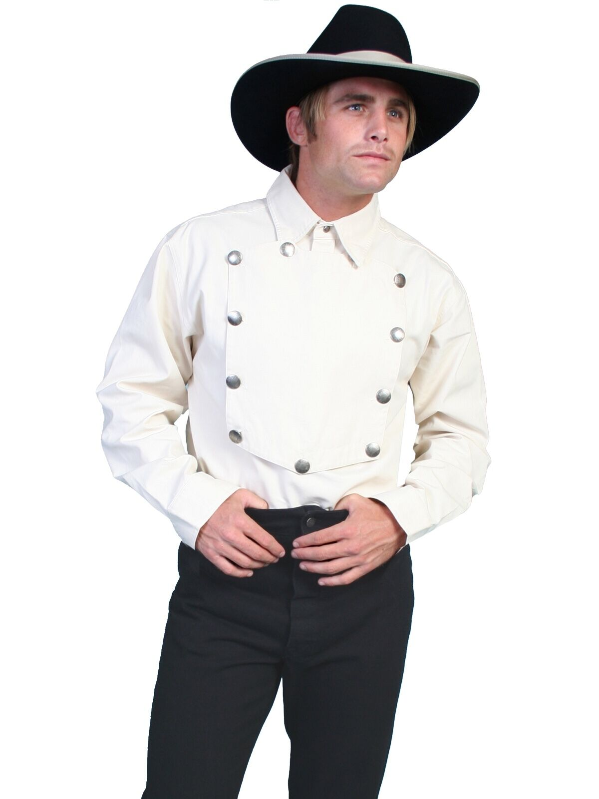 SCULLY RANGEWEAR OLD WEST USA  CLASSIC  CAVALRY BIB SHIRT NATURAL