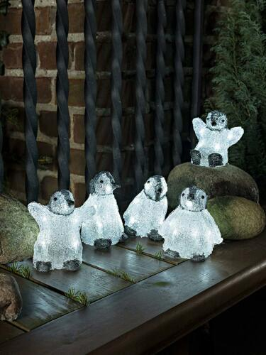 5 Piece Acrylic PENGUINS LEDs light up 3D Christmas decoration indoor//outdoor