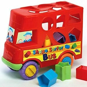 SHAPE-SORTER-Red-BUS-push-along-Baby-and-Toddler-sorting-Toy-NEW