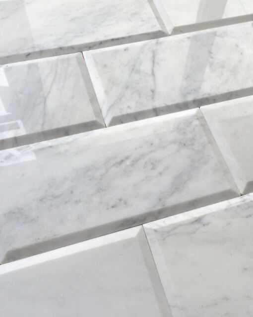 Carrara White 6x12 Polished Beveled Marble Tile Wall Backsplash