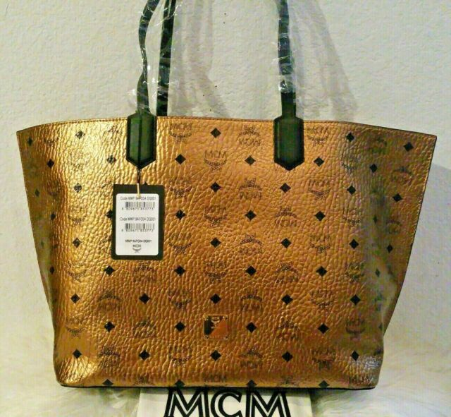 MCM Medium Visetos Top Zip Shopper Tote w Tags Handbags
