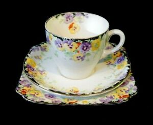 Beautiful-Royal-Doulton-Art-Deco-Wild-Pansy-Trio