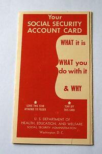 Antique-Vintage-Social-Security-Account-Card-Holder-Folder-Flier-Pamphlet-1954
