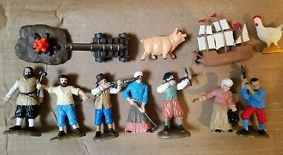 12 Safari Ltd Pilgrim Amish Chicken Pig Ship Colonial People