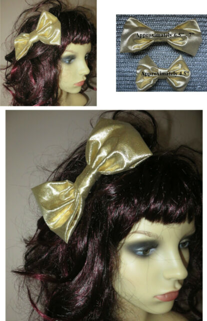 80s Pop Star Bow, Metallic Gold Hair Bow, 80s fancy dress, hen party, 2 sizes