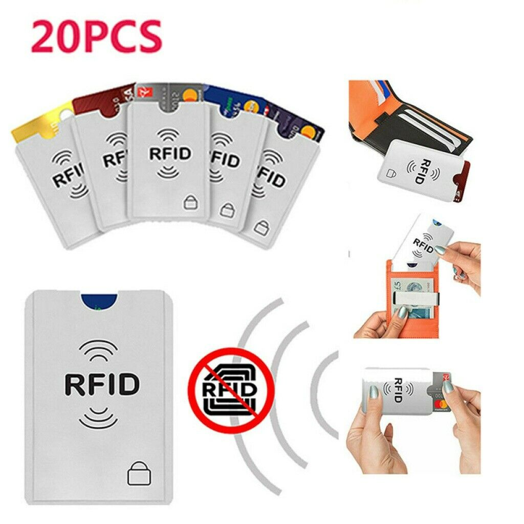 20 pack Credit Card Protector Secure Sleeves RFID Blocking ID Holder Case Shield