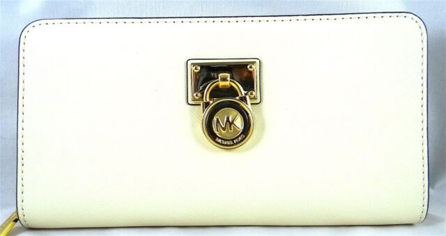6c2db801e54453 Michael Kors Hamilton Traveler Ecru Leather LG Zip Around Wallet 35f6ghxz3l