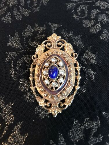 Vintage Ornate Gold Tone Pin Blue And Faux Pearl … - image 1
